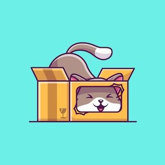 ボックス漫画アイコンイラストでかわいい猫を再生します。フラット漫画スタイル