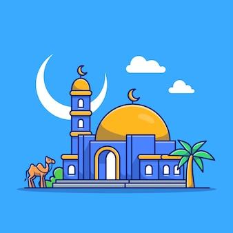 モスクアイコンイラスト。イスラム教の建物アイコンのコンセプトが分離されました。フラット漫画スタイル