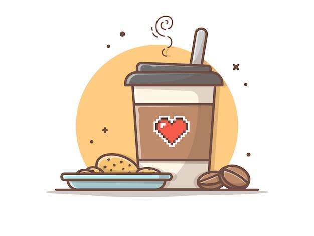 Горячий кофе с печеньем и фасолью иконка иллюстрация
