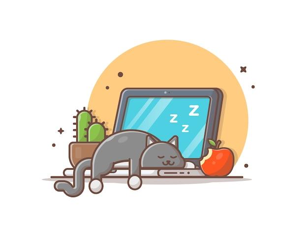 Спящая кошка на ноутбуке с кактусом и яблоком