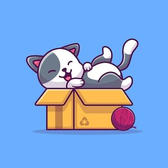 Милый кот играть в коробке мультфильм значок иллюстрации. концепция животных значок изолированы. плоский мультяшный стиль