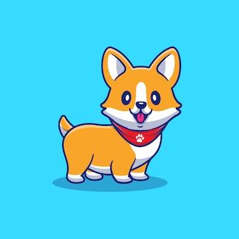 かわいいコーギー子犬漫画アイコンイラスト。分離された動物の犬アイコンのコンセプト。フラット漫画スタイル
