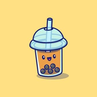 かわいいバブルティーボバ牛乳漫画アイコンイラスト。分離されたアイコンコンセプトを飲む