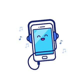 かわいい携帯電話がヘッドフォン漫画アイコンイラストで音楽を聴きます。音楽とテクノロジーのアイコンの概念が分離されました。フラット漫画スタイル