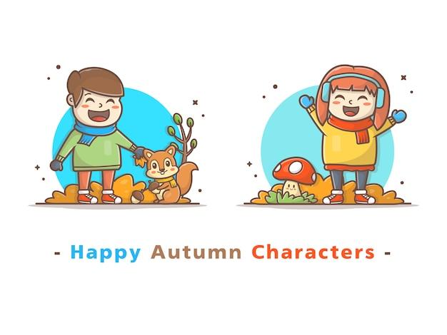 Счастливые дети персонаж играет в осенний сезон