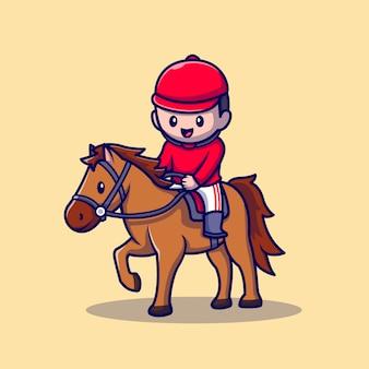 かわいい人が馬漫画アイコンイラストに乗っています。人スポーツ動物アイコンコンセプト分離プレミアム。フラット漫画スタイル