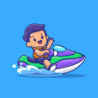 Симпатичные люди езда скорость моторная лодка мультфильм иконка иллюстрация. люди спорт иконка концепция изолированные премиум. плоский мультяшный стиль