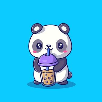 Симпатичные панда, пить чай с молоком боба мультфильм значок иллюстрации. животное напиток значок концепция изолированных премиум. плоский мультяшный стиль