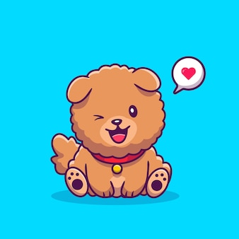 愛の吹き出しで座っているかわいいチャウチャウ犬。漫画アイコンイラスト。動物愛アイコンコンセプト分離プレミアム。フラット漫画スタイル