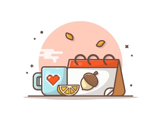 秋のカレンダーとホットコーヒー