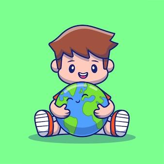かわいい地球漫画アイコンイラストを抱き締める少年。人地球アイコンコンセプト分離プレミアム。フラット漫画スタイル