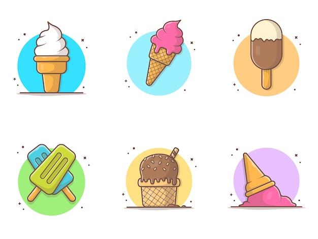 アイスクリームコレクションアイコンイラスト