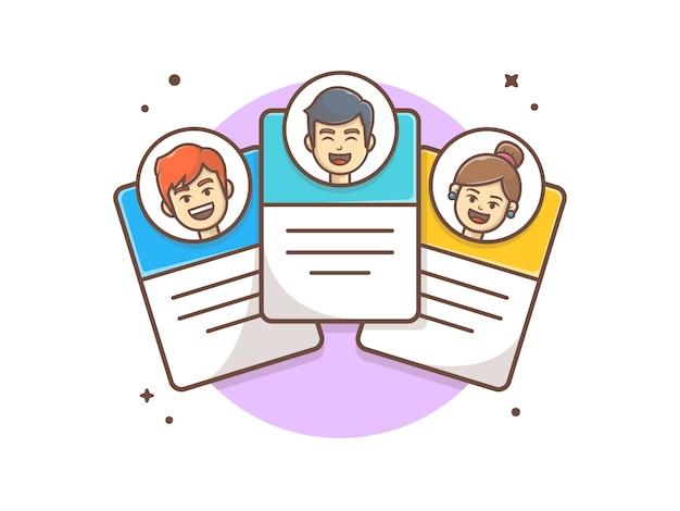 Карточка профиля команды с символом иконы иллюстрации
