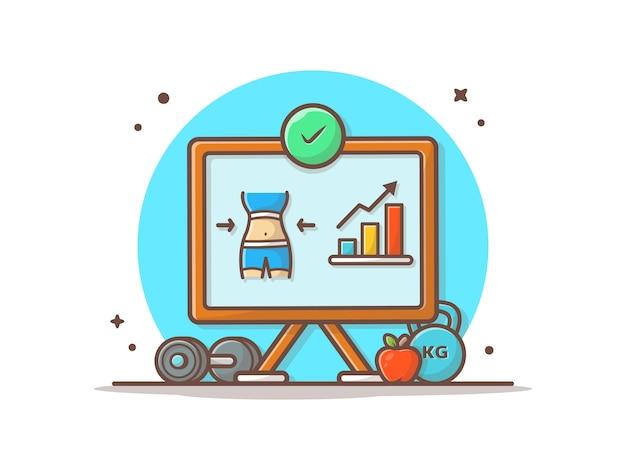 Диаграмма диеты успех иконка иллюстрация