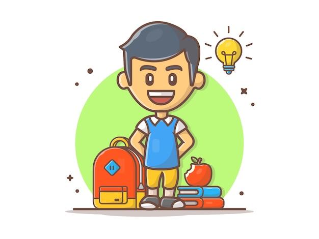 Снова в школу значок иллюстрации. мальчик характер и школьная сумка, книги с яблоком на вершине