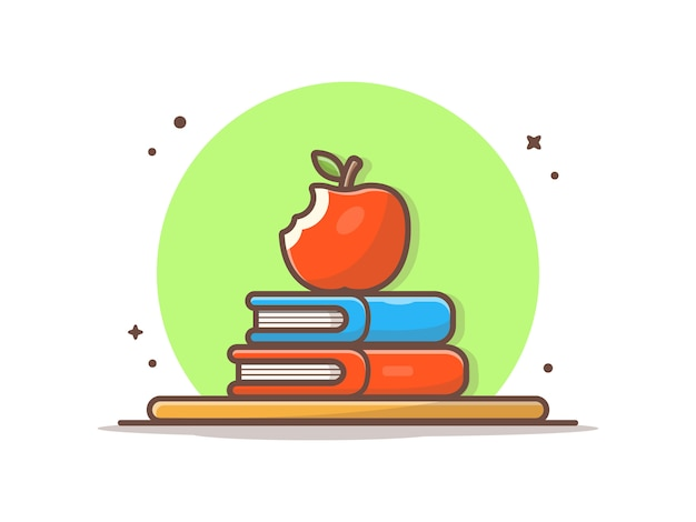 アップルフルーツと本。学校アイコンイラストに戻る。
