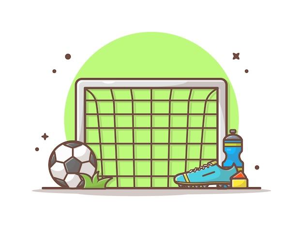 ゴールネットとサッカーボール、靴、ミネラルウォーターアイコンイラスト