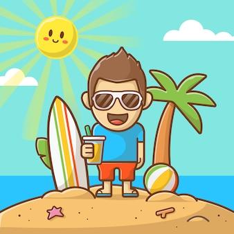 Мальчик на пляже в летний день иллюстрации