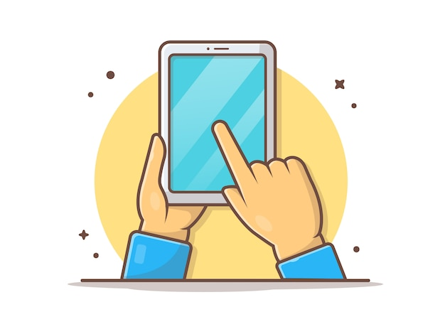 Рука держит планшет с пальцем, указывающим на экран