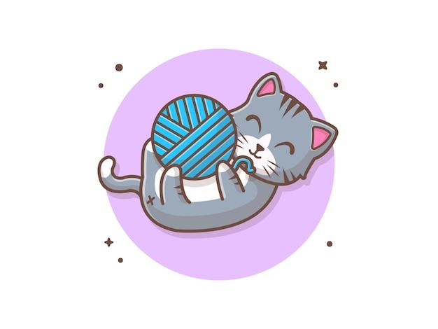 Кошка играет с шерстяным шаром