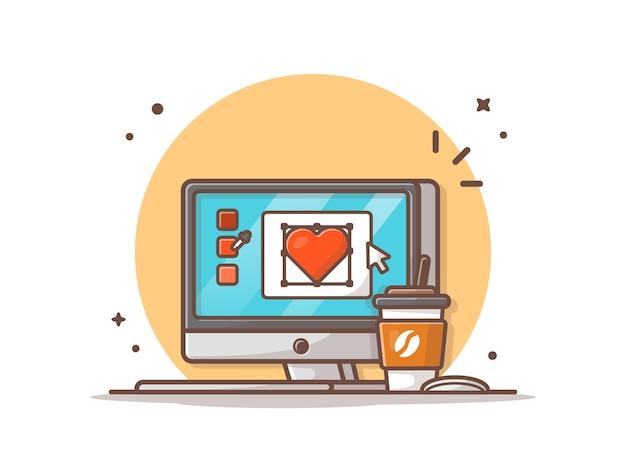 ワークデスクベクトルアイコンイラスト。一杯のコーヒーとデスクトップ、オフィスアイコンコンセプトホワイト分離
