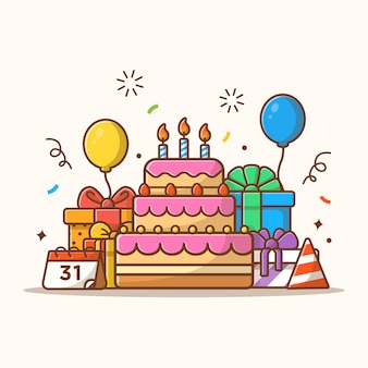 Коробка подарков с тортом ко дню рождения