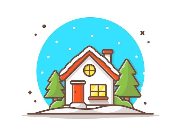 冬の季節の家