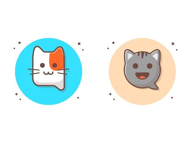 チャット猫アプリベクトルアイコンイラスト