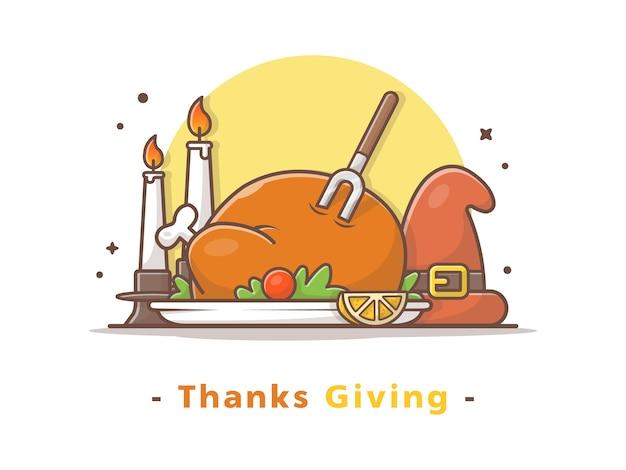幸せな感謝祭の日のベクトル図を与える