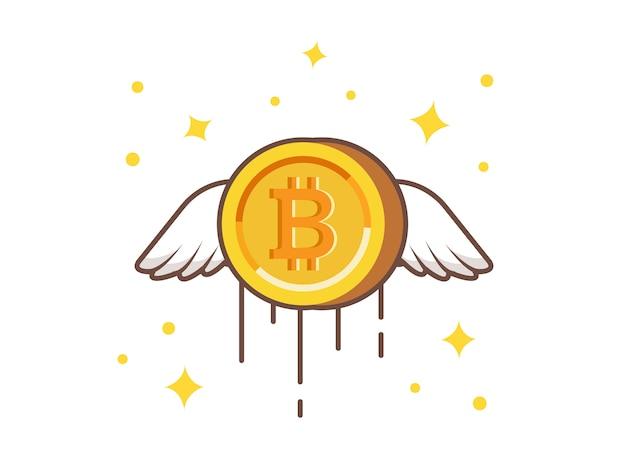 Летающий золотой биткойн вектор значок иллюстрации