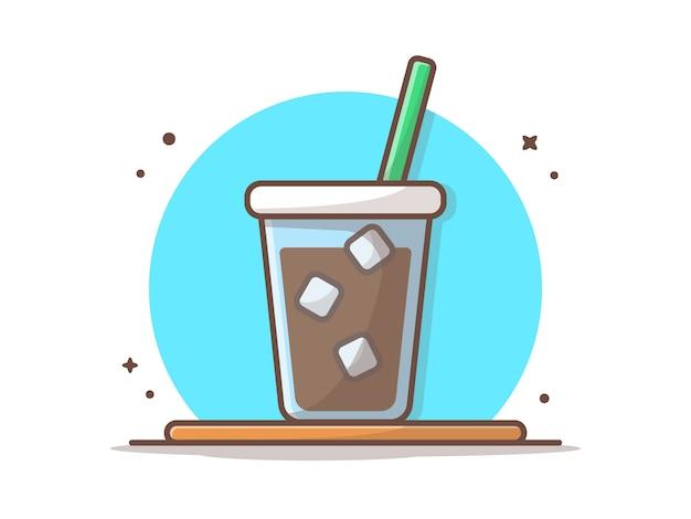 Ледяной кофе на столе вектор значок иллюстрации