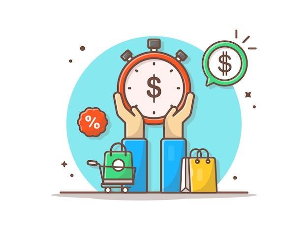 Скидка и время продажи - векторный клипарт