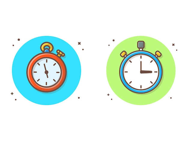 Секундомер векторный клипарт иллюстрация. часы, таймер клипарт концепция белый изолированный
