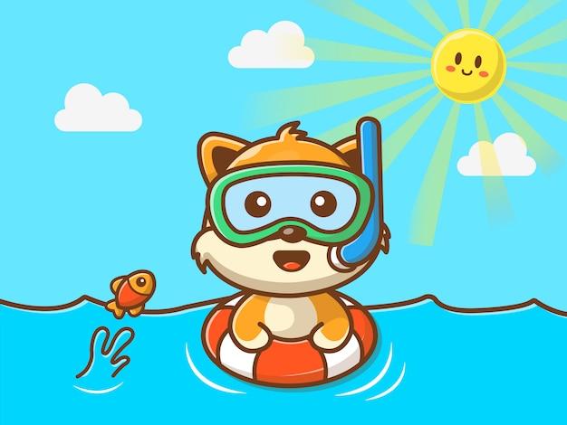 ビーチで泳ぐ猫