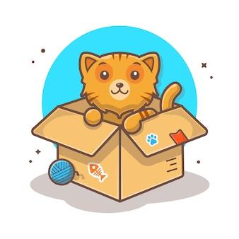 Милый кот в коробке вектор значок иллюстрации.