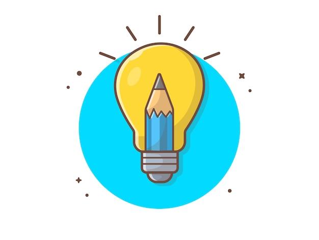 Креативная идея вектор значок иллюстрации. лампочка и карандаш, значок бизнес-концепция