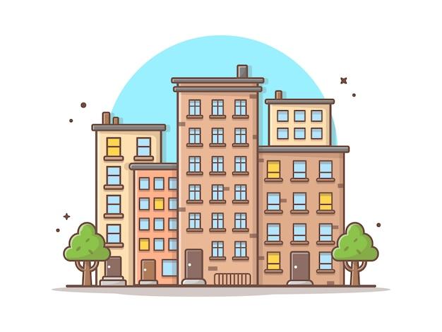 都市の景観ベクトルアイコンイラスト。美しい町、建物、ランドマークのアイコンコンセプト