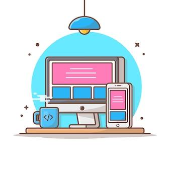 レスポンシブウェブサイトベクトルアイコンイラスト。デスクトップとスマートフォン、コーヒー、技術アイコンコンセプトホワイト分離