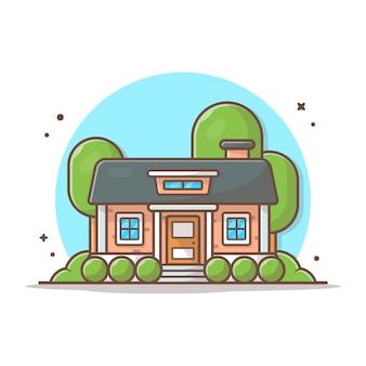 家を建てるベクトルアイコンイラスト。建物とランドマークアイコンコンセプトホワイト分離