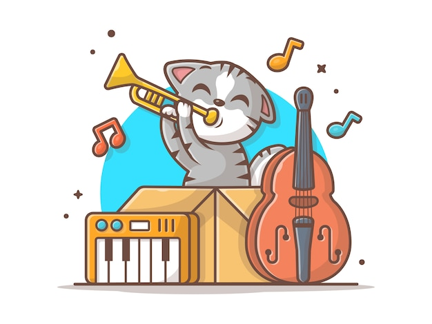 Милый кот играя джазовую музыку в коробке с иллюстрацией значка вектора саксофона, рояля и контрабаса. животное и музыка значок концепции белый изолированный