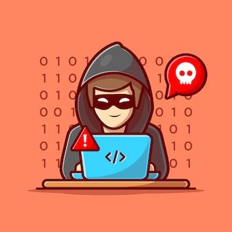 Хакер работает значок ноутбука. хакер и ноутбук. изолированный значок хакера и технологии