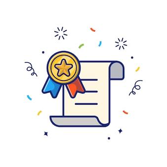 ゴールドメダルアイコン付きの報酬証明書。証明書およびメダル、分離された報酬アイコンホワイト