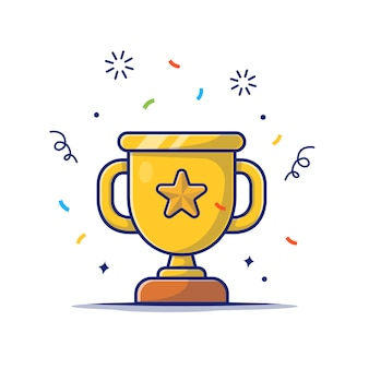Значок золотой трофей. золотой кубок со звездой, значок награды белый изолированный
