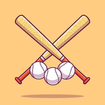Бейсбол иконка. бейсбольные клюшки и мяч