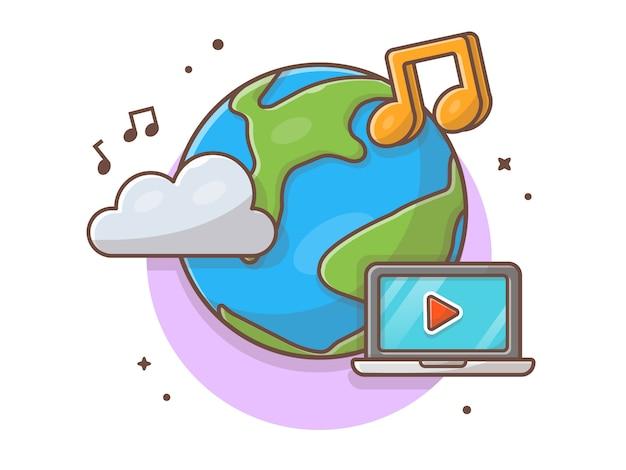 Облако музыка иконка с глобусом, ноутбук и ноты музыки. всемирный день музыки белый изолированный
