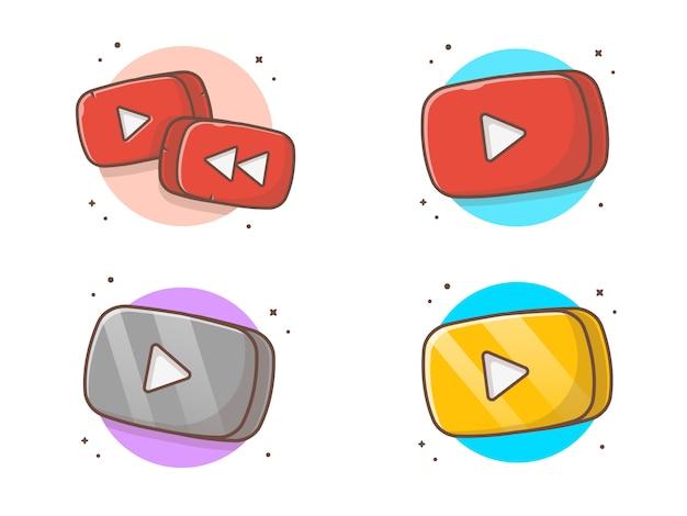 丸みを帯びた長方形の音楽の再生ボタンコレクション。ビデオマルチメディア再生ボタンホワイト分離