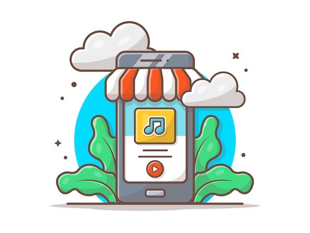 Интернет-магазин музыки. мобильный музыкальный магазин с значок заметки значок. облако музыкальный магазин белый изолированный
