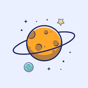 Планета иконка. планета, звезда и земля, космический значок белый изолированный