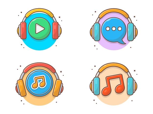ヘッドフォンで音楽アイコンを聴く音楽アイコン。分離された音楽ロゴ白を聞いて
