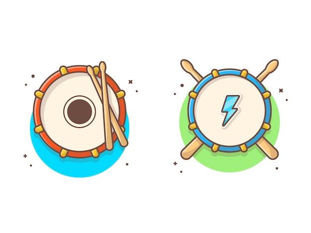 ドラムスティック音楽とドラムスネアアイコン。祭りカーニバルドラムロゴ白分離